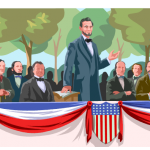 graphic of Abe Lincoln talking in front of a crowd