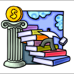 graphic of man climbing staircase of books toward gold coin