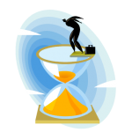 graphic of man standing on glass hourglass