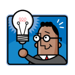 graphic of man pulling chain on light bulb to get idea