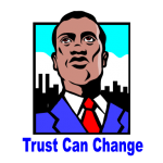 "graphic of man looking up and words ""trust can change"" underneath"