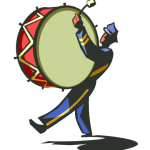 graphic of guy drumming bass drum