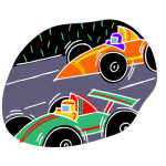graphic of two cars racing