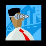 graphic of dude wearing binocular type glasses