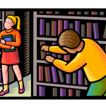 graphic of man looking through bookshelf