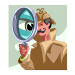 graphic showing detective with big eye in magnifying glass