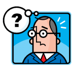graphic of man in suit with question mark in dialogue balloon