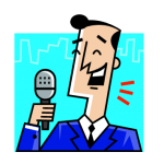 graphic of man speaking into microphone