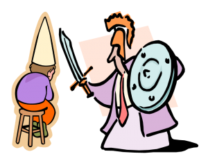 graphic of man with a sword point toward a kid in a dunce hat