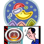 graphic of tired man with clock and man in moon with santa hat on