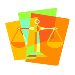 graphic depicting scales of justice with many background colors