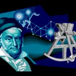 graphic of nicola copernicus and his star gazing device