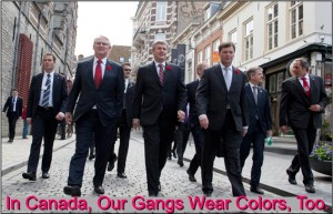 prime minister Steven Harper and other Canadian politicians in gang