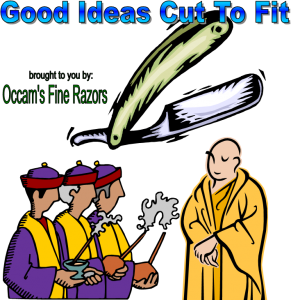 graphic of guys and monk with occams razor