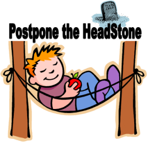 graphic of guy in hammock and headstone with postpone the headstone