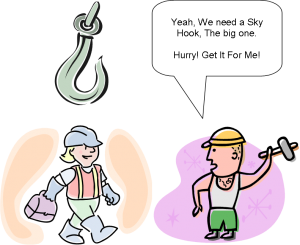 graphic of construction apprentice and sky hook