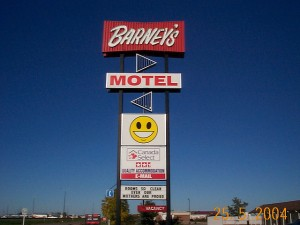 happy face sign at barneys motel, brandon, manitoba, canada