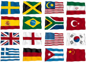 flags of several different countries