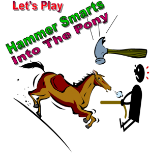 graphic of horse, hammer and dude pulling horse