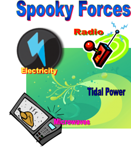 graphic showing spooky forces of electricity, radio, microwave and tides