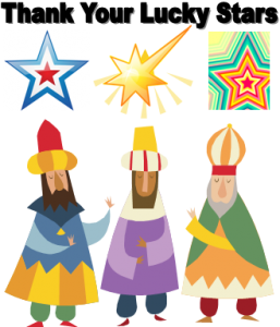 graphic of three wise men and three stars with words thank your  lucky stars