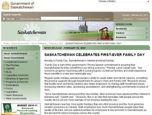 Saskatchewan Government Family Day Webpage