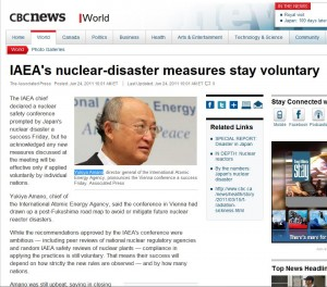Yukiya Amano says IAEA decides disaster measures voluntary
