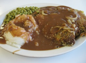 Liver and Onions with spuds and gravy