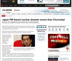 Japanese Prime Minister feared nuclear accident worse than chornobyl