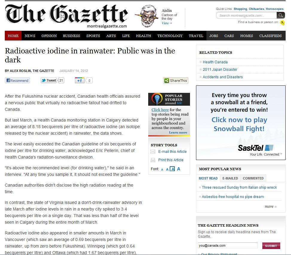 montreal gazette article radiation canada rainwater