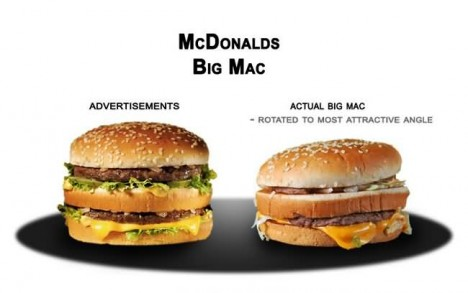 big mac advertised and actual appearence