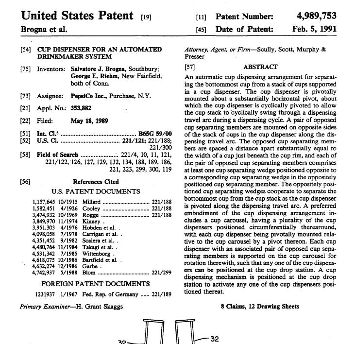patent screenshot from automatic cup and drink dispensor