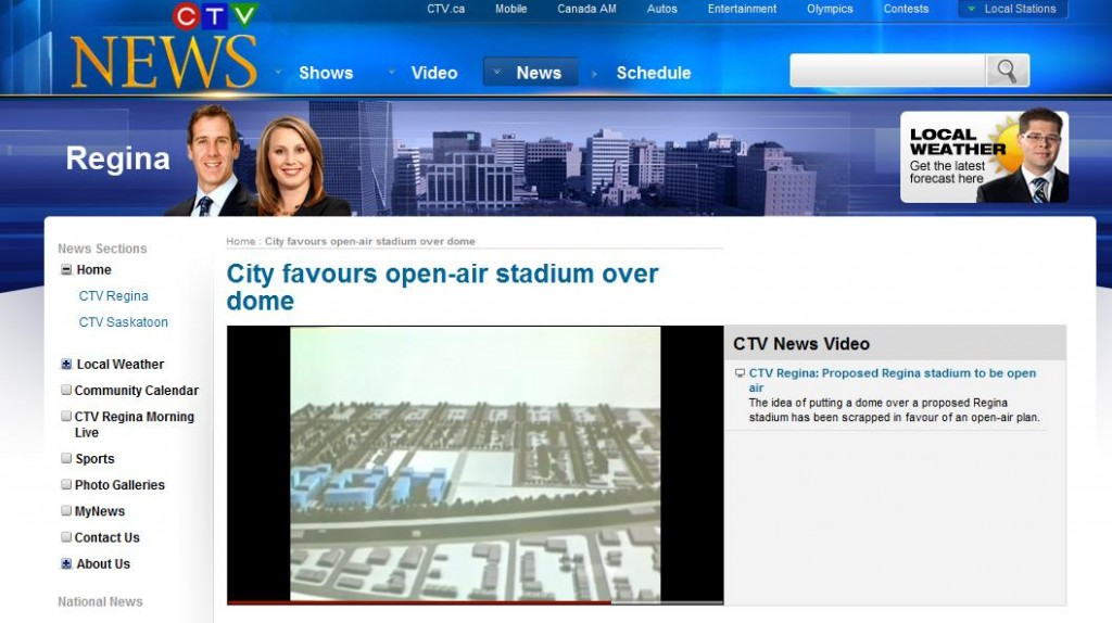 ctv website screenshot regina city favors open air stadium