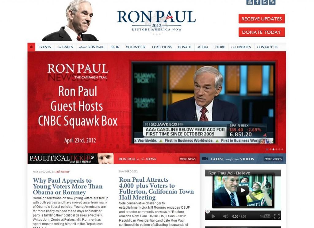 ron paul 2012 website screenshot