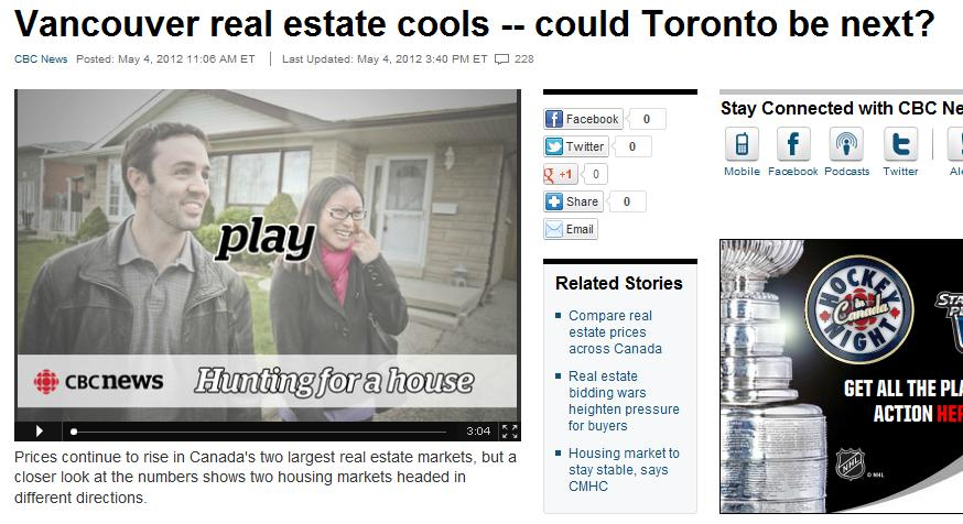 cbc website screenshot for vancouver and toronto housing market cooling