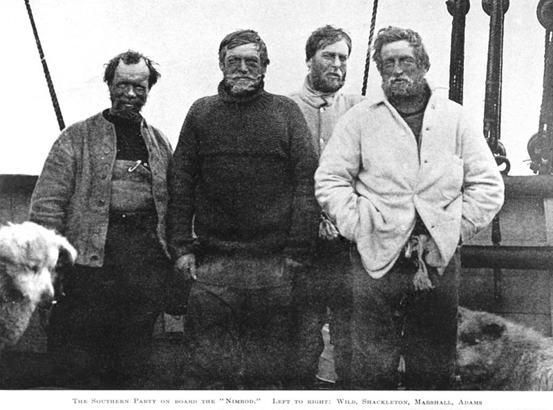 Nimrod Expedition South Pole Party (left to right): Wild, Shackleton, Marshall and Adams.