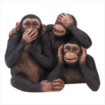 three monkeys covering their eyes, ears and mouth
