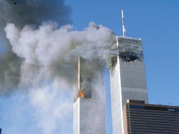 twin towers on fire