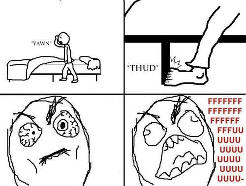 cartoon of person stubbing toe