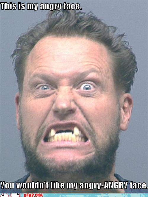 man displaying angry face