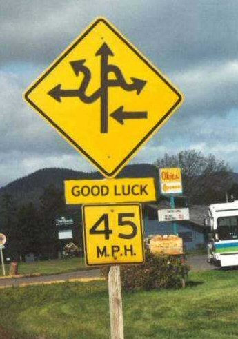 sign with twisting roads saying good luck