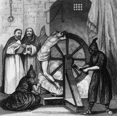 spanish inquisition man on torture wheel