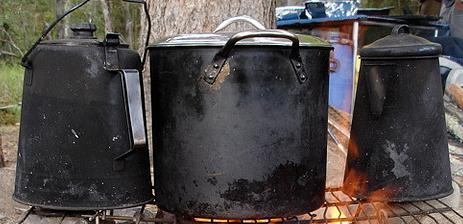 black camp cook pots and kettle