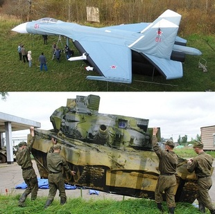 inflatable aircraft and army vehicle