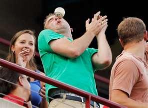 guy misses baseball gets hit in head
